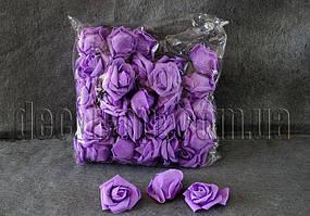Фиолетовые розы из латекса 6 см/1 шт