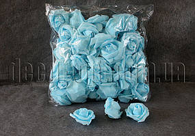 Голубые розы из латекса 6 см/1 шт