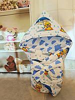 Конверт Одеяло для новорожденных на выписку с бантом и уголком осень/весна 78х78 см Утенок