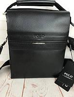 Небольшая мужская сумка - планшет Polo с ручкой. Мужская сумка через плечо. Стильные мужские сумки.