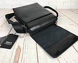 Небольшая мужская сумка - планшет Polo с ручкой. Мужская сумка через плечо. Стильные мужские сумки., фото 4