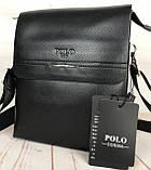 Небольшая мужская сумка - планшет Polo с ручкой. Мужская сумка через плечо. Стильные мужские сумки., фото 8