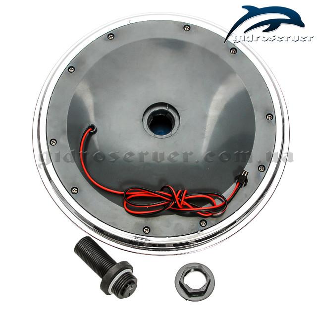 Лейка для душевой кабины, гидробокса L ― 250 Lamp круглой формы, оборудована светодиодной подсветкой.