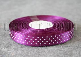 Лента атласная фиолетовая с горохом 1,5 см 50 м