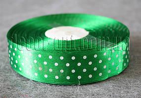 Лента атласная зеленая с горохом 2,5 см 50 м 19#
