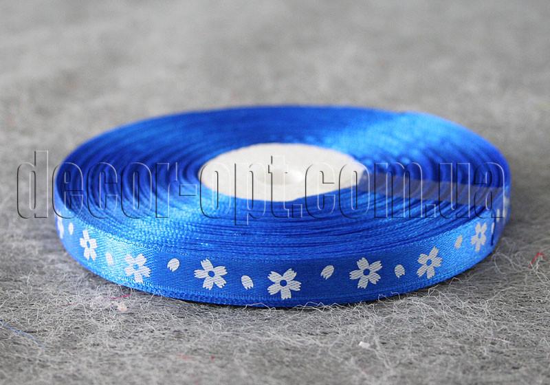 Лента атласная синяя с крупными цветами 1 см 50 м