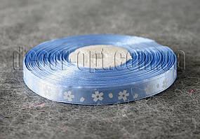 Лента атласная голубая с крупными цветами 1 см 50 м