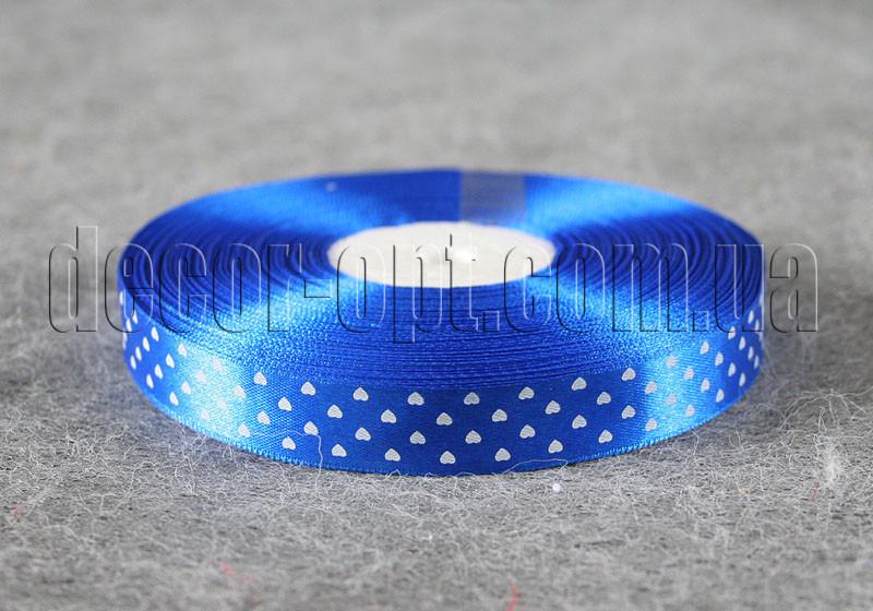 Лента атласная синяя с сердцами 1,5 см 50 м