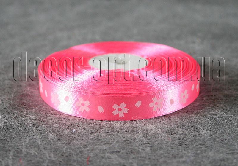 Лента атласная розовая с большими цветами 1,5 см 50 м