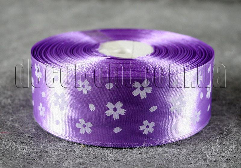 Лента атласная сиреневая с цветами 4 см 50 м