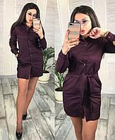 Однотонное платье-рубашка / хлопок / Украина 26-0145, фото 1