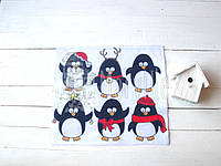 "Фетр мягкий с рисунком ""Новогодние пингвины"" 22х19см"