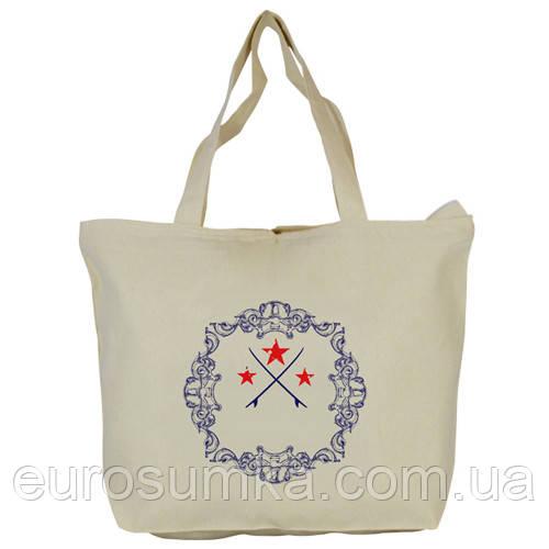 Эко сумка на молнии от 100 шт. Печать логотипа.