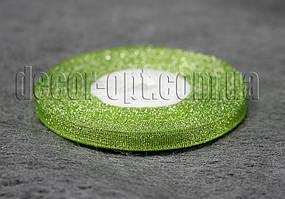 Лента парча салатовая 0,6 см 25ярд