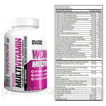 Вітаміни для жінок Evlution Nutrition women's MultiVitamin 120 таб.(краще Opti-Women), фото 2