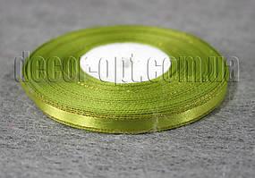 Лента атласная хаки с золотым люрексом 0,6 см 36ярд 95