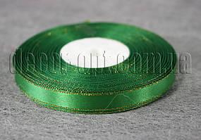 Лента атласная с люрексом зеленая 1,0 см 36ярд 19