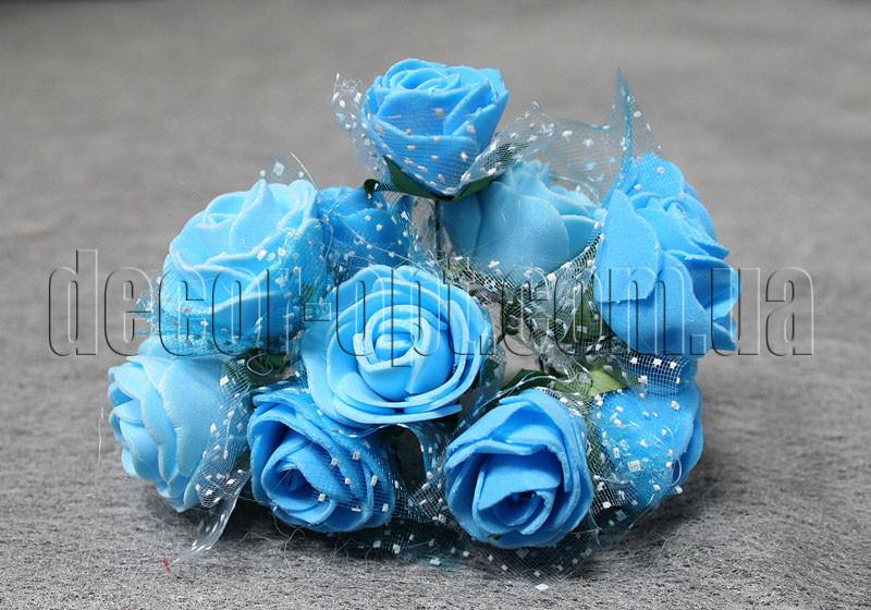 Букет блакитних троянд з фатином з латексу 3 см