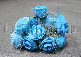 Букет голубых розочек с фатином из латекса 3 см