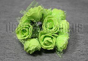 Букет салатовых розочек с фатином из латекса 3 см