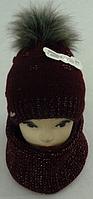 Шапка вязаная с бубоном + баф для девочки  на полном флисе зима, фото 1