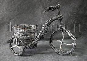 Кашпо велосипед из лозы 29х21 см d 11 см