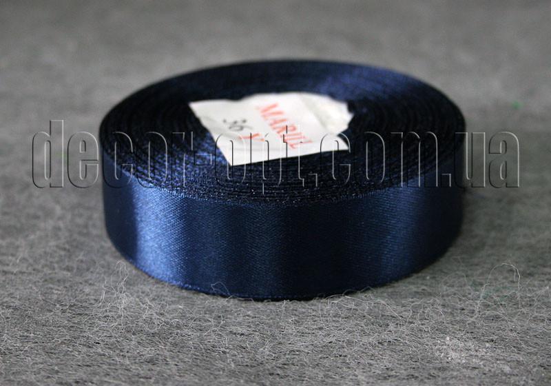 Лента атласная темно-синяя 2,50 см 36ярд арт.38