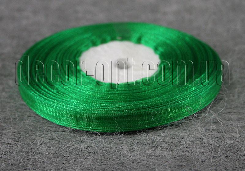 Лента органза зеленая 0,6 см 50ярд 019