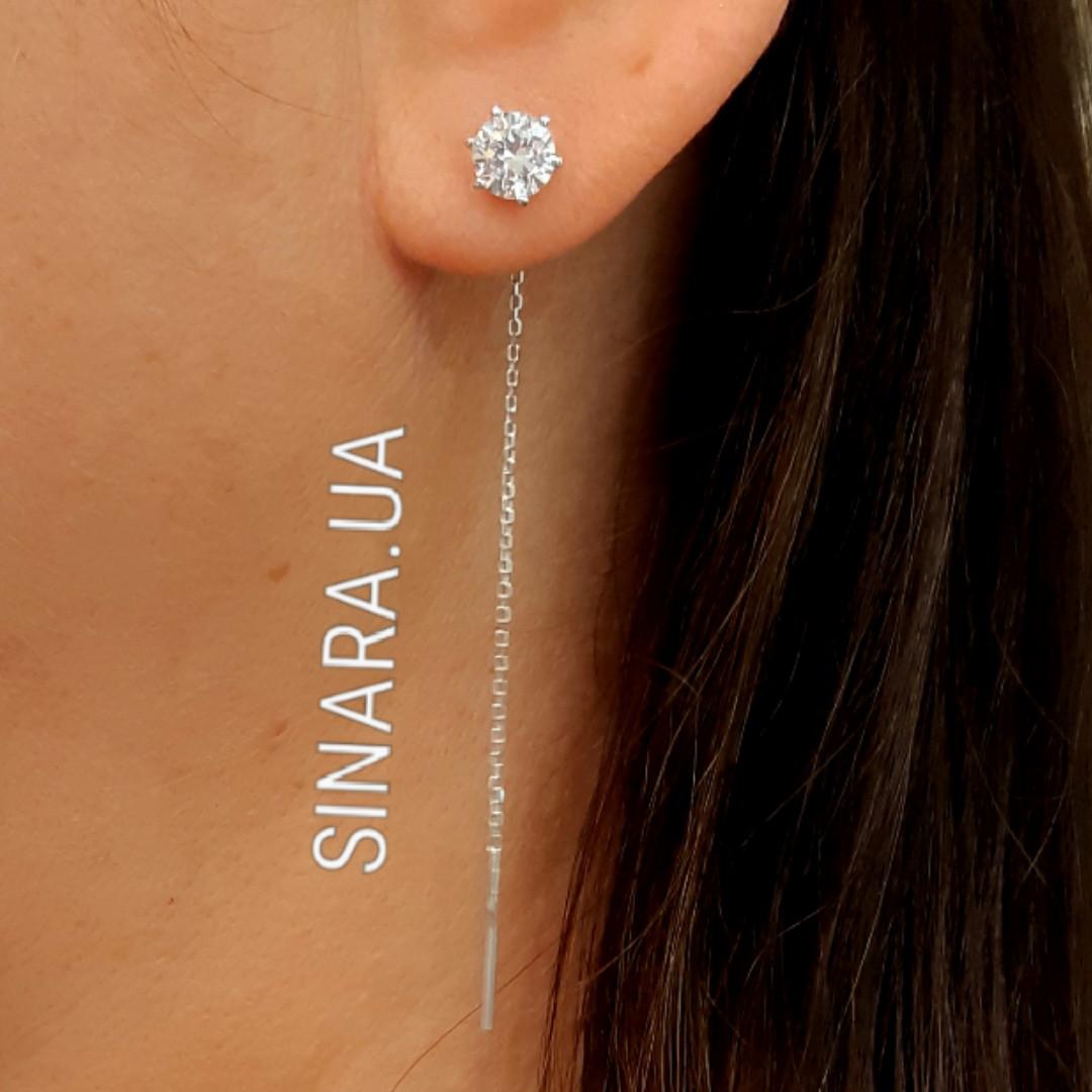 Серебряные серьги  цепочки с фианитом - Серьги протяжки серебро с фианитом - Серьги минимализм