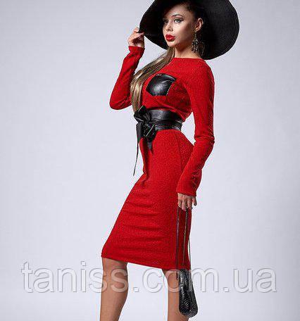 Шикарное деловое платье из итальянского трикотажа, отделка кожаный карман и пояс, р.44,46,48 красный (299)