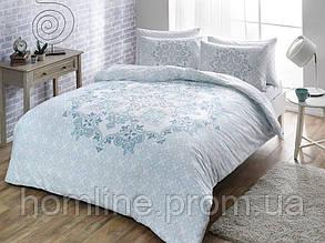 Постельное белье Tac сатин Hazel mavi голубой полуторного размера