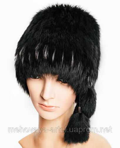 Меховая шапка из чёрного кролика с ресничками из чернобурки