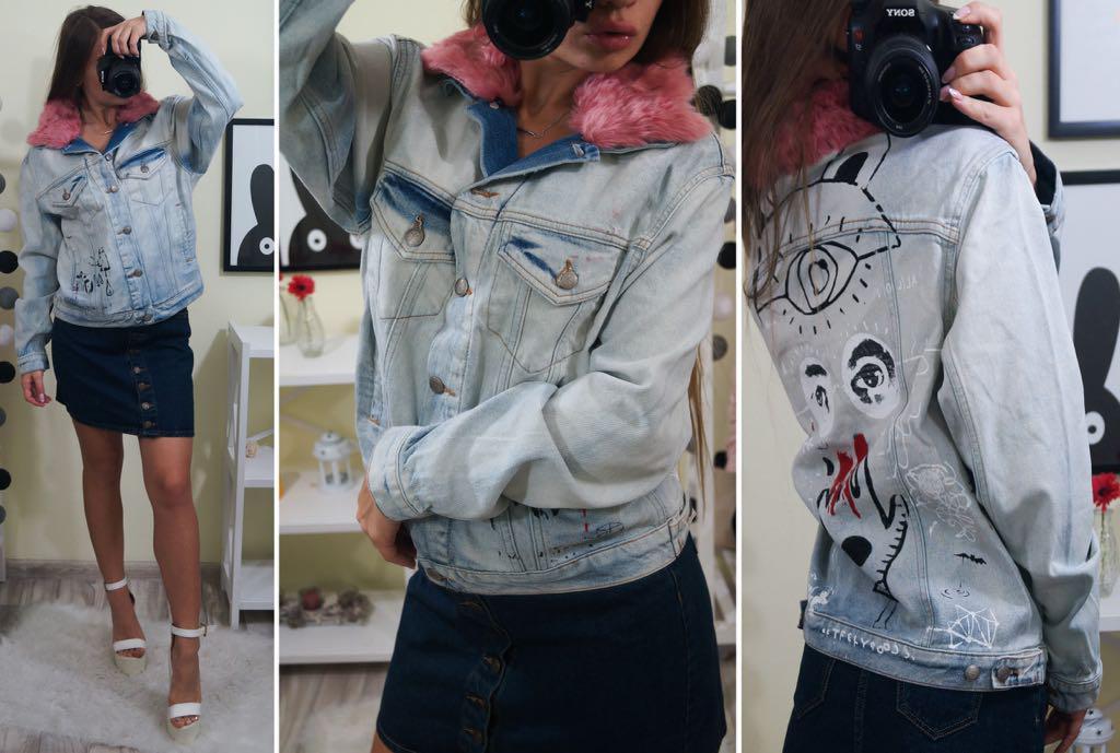 Женская джинсовая куртка с воротником из розового меха и арт рисунком на спине