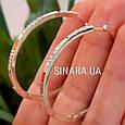 Серьги кольца серебро с золотом и фианитами диаметр 45 мм, фото 6
