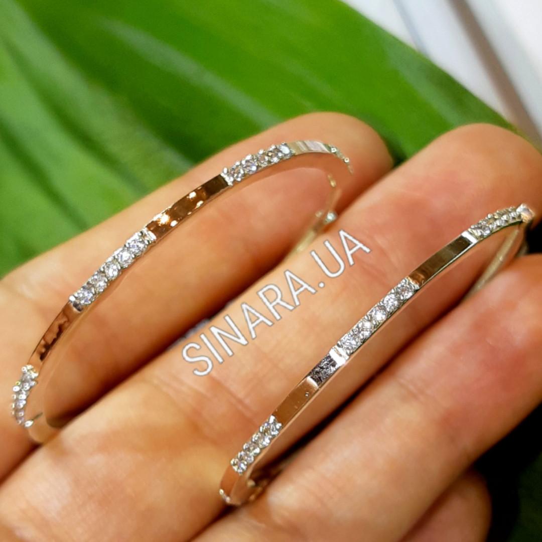 Серьги кольца серебро с золотом и фианитами диаметр 45 мм