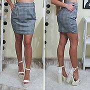 Женская  мини юбка с пуговицами черная и в клетку