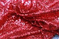 Пайеточная ткань густая Красная