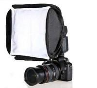 Рассеиватель (диффузор) для фотокамеры, софтбокс, 23*23см, надевается на накамерные вспышки, чехол в комплекте