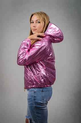 Блестящая женская куртка весна-осень с капюшоном, фото 2