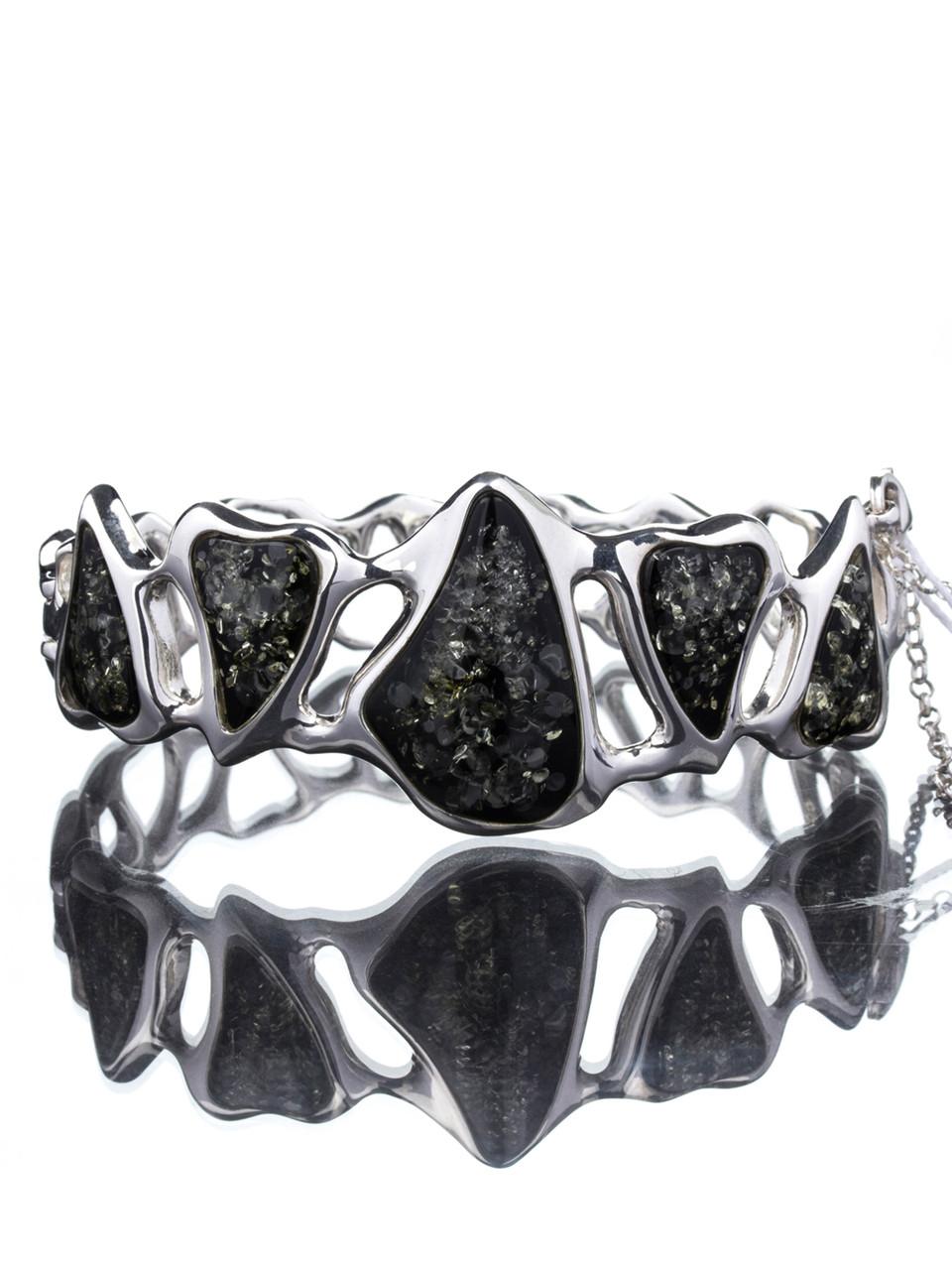 Браслет с янтарем серебряный