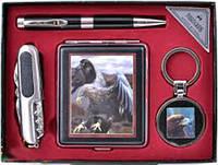 Подарочный набор (Орел) портсигар,брелок,ручка,нож YJ6273