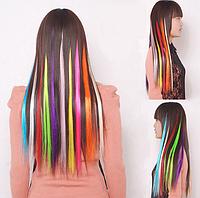 Цветная накладная прядь на заколке клипсе, прямые волосы, цвет красный