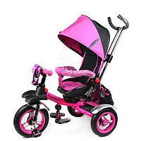 Велосипед M 3124-3A три кол.резина (12/10)колясоч.поворот,своб.ход колеса,тормоз,подшибн.,розов