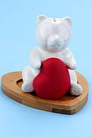 Набор для специй Мишка с сердцем с бамбуковой подставкой, фото 1