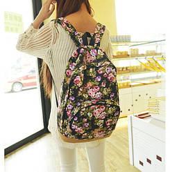 Рюкзак сумка в цветочках розы черного цвета