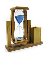 Часы песочные с подставкой для ручек (225-2 5 17*18.5)(16,5х16,5х5,5 см)