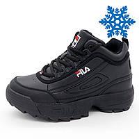 Женские зимние черные кроссовки FILA Disruptor 2 с мехом р.(36, 37, 38, 39, 41)