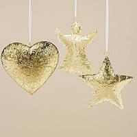 Подвесной декор золотой металл h30см