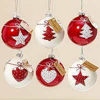 Набор новогодних  шаров из 6-ти шт красное стекло d8см 1007183