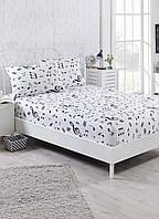 Простынь на резинке с наволочкой Eponj Home B&W Melody beyaz белая 100*200
